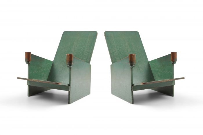Constructivist Pair Of Green Lounge Chairs - 1920s