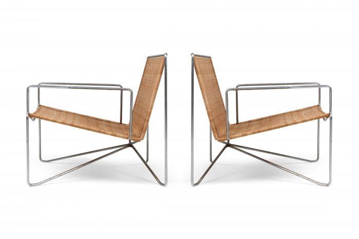 Rattan & Steel Armchairs By Gelderland - 1964
