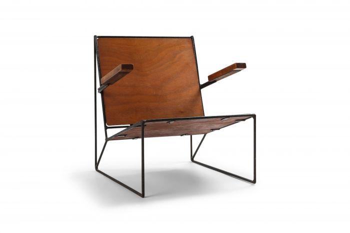 Minimalist Modernist Lounge Chair Atelier Belge in Teak and Metal - 1950's