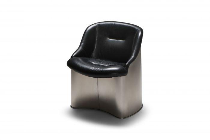 Boris Tabaccof Leather and Metal Easy Chair - 1970's
