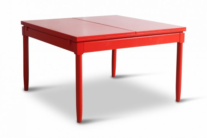 Red Lacquered Extendable Dining Table - Vico Magistretti - 1960s