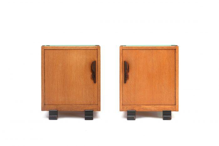 Oak And Coromandel Art Deco Nightstands - 1920s