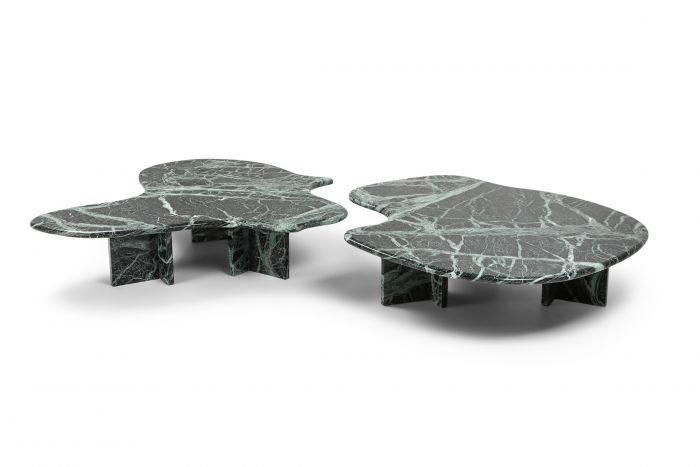 Post-modern Green Marble Coffee Table In The Maner of Noguchi - 1970s