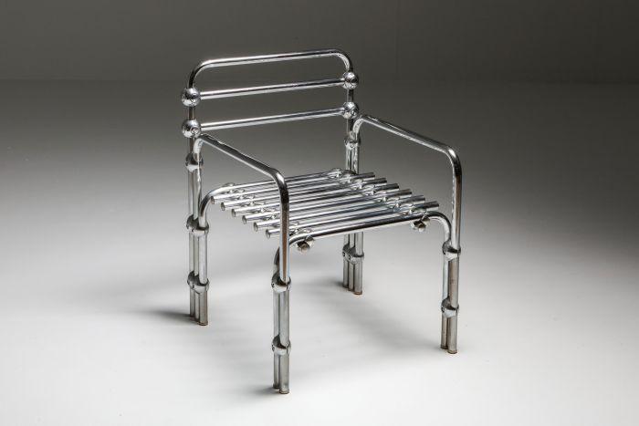 Postmodern Rietveld Style Chromed Metal Lounge Chair - 1980's