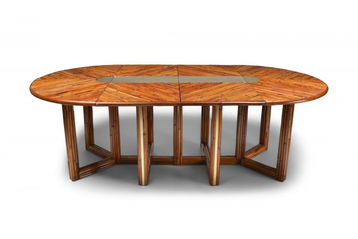 Gabriella Crespi Style Adjustable Dining Table in Rattan - 1970s