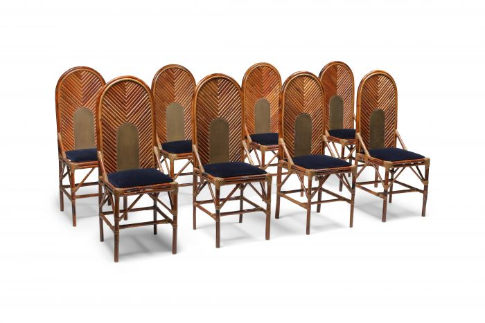 Vivai Del Sud Dining Chairs In Bamboo, Brass & Blue Velvet - 1970s