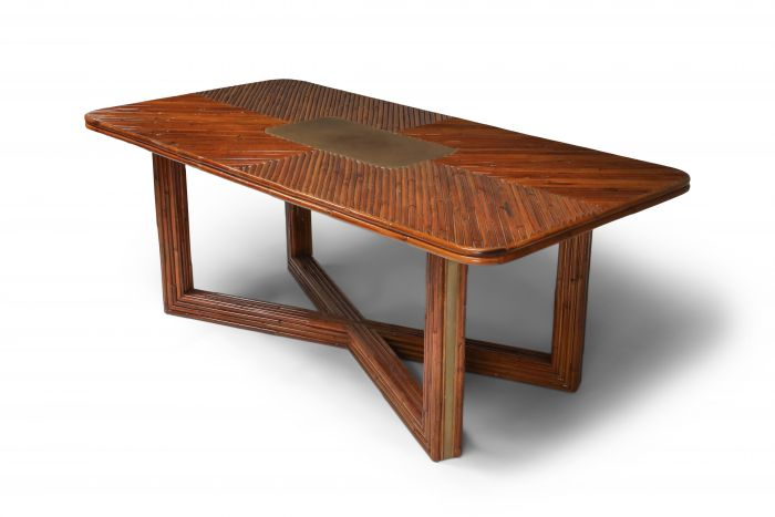 Gabriella Crespi Style Rectangular Dining Table in Rattan - 1970s
