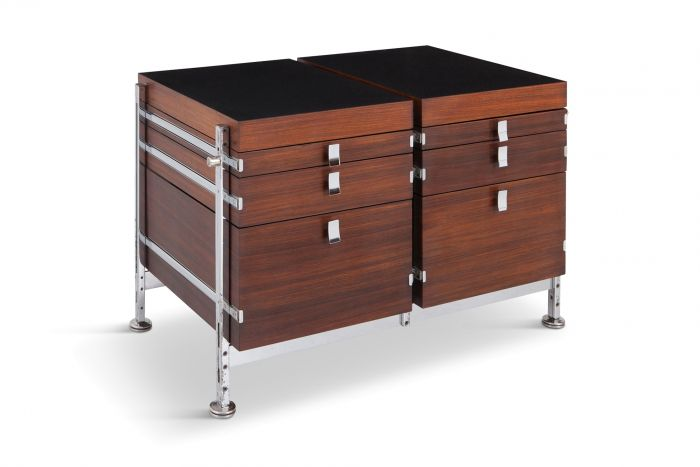 Jules Wabbes Mahogany Double Chest of Drawers for Mobilier Universel - 1960s