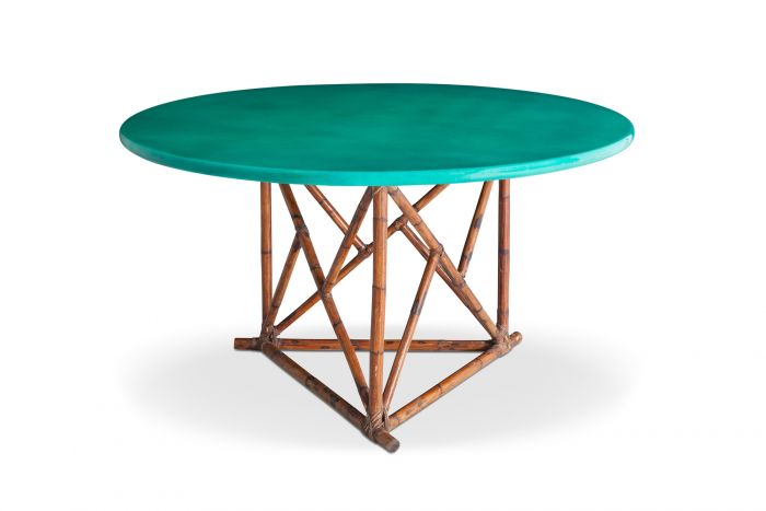 Mid-century Lacquered Bamboo Dining Table - 1960s