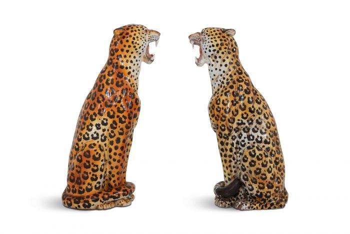 Leopard Ceramic Hand Painted Sculptures - 1950s