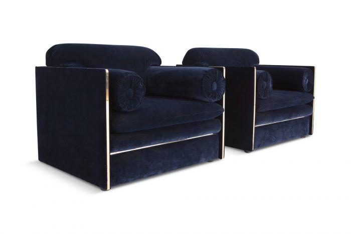 Italian Glam Armchairs In Dark Blue Velvet & Brass - 1970s