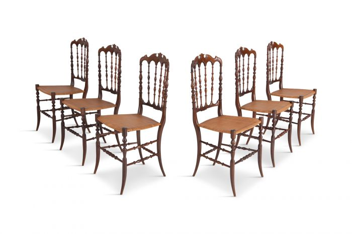 Chiavari Cherrywood & Wicker Dining Chairs After Giuseppe Gaetano Descales - 1900s