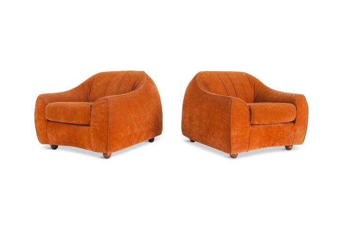 Mid-century Modern Orange Suede Italian Easy Chairs - 1960s