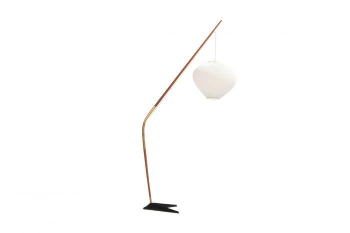 Holm Sørensen Teak and Brass Floor Lamp - 1950s
