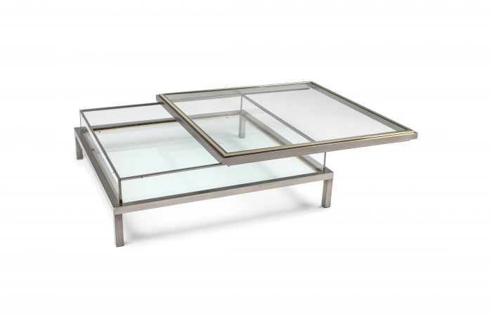 Maison Jansen Sliding Coffee Table in Chrome and Brass - 1970s