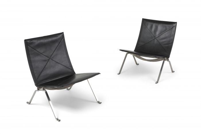 Black leather PK 22 pair of lounge chairs Fritz Hansen - 2009