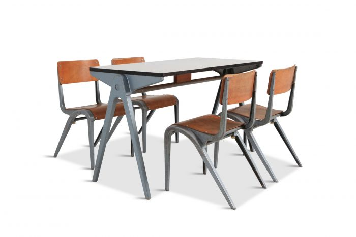 Industrial Writing Desk Table with Chairs for Kids by James Leonard for Esavian - 1948