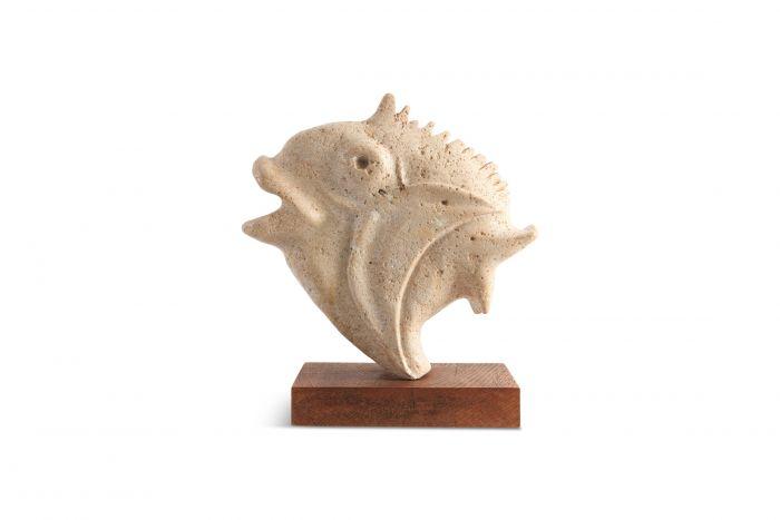 Travertine Moonfish Sculpture - 1970s