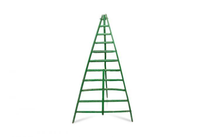 Objet Trouvé Green Fruit Picking Ladder - 19th Century