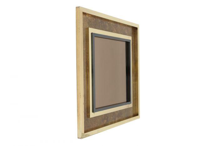 Brass Acid Etched Mirror, Maison Jansen - 1980s