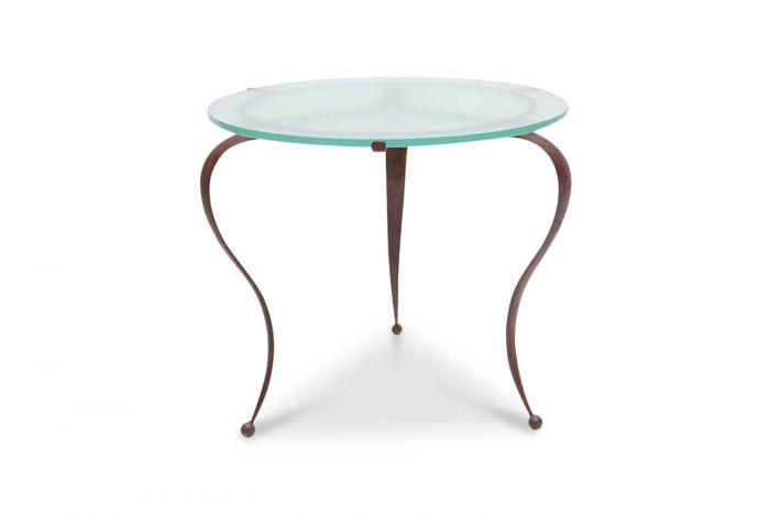 Glass & Steel Coffee Table, René Drouet - 1940s