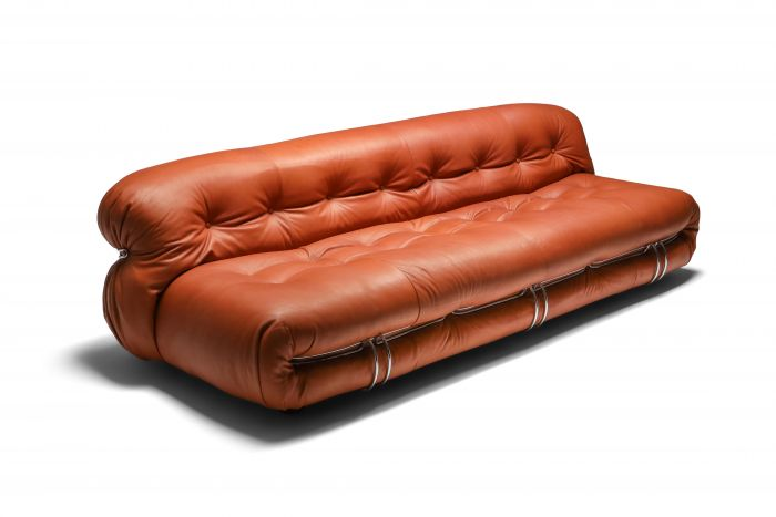 Cassina 'Soriana' Cognac Leather Sofa by Afra and Tobia Scarpa - 1970s