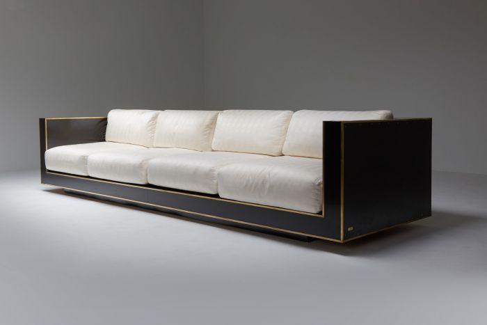 Maison Jansen geometric sofa in Black and Brass Hollywood Regency - 1970's