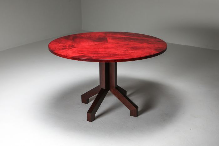 Aldo Tura Red Parchment and Mahogany Table - 1960's