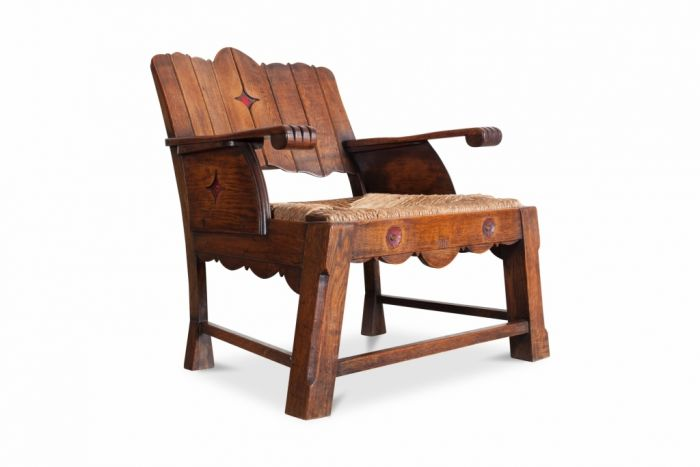Wooden Lounge Chair, Arts & Crafts - 1920s