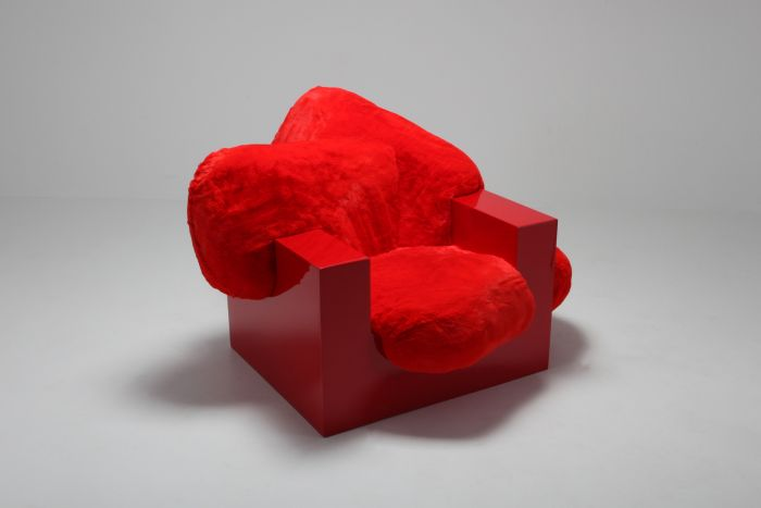 Pillow Lounge Chair in Red Lacquer and Faux Fur by Schimmel & Schweikle - 2019