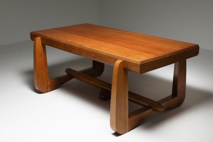 Dutch Art Deco Expressive Oak Dining Table - 1930s