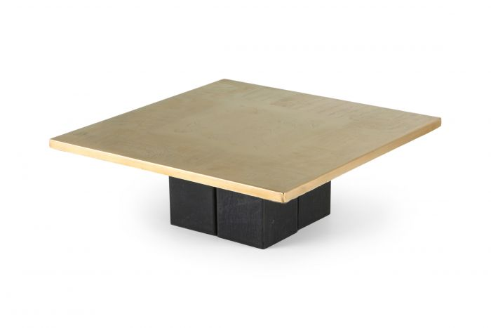 Christian Heckscher Brass Etched Coffee Table - 1970s