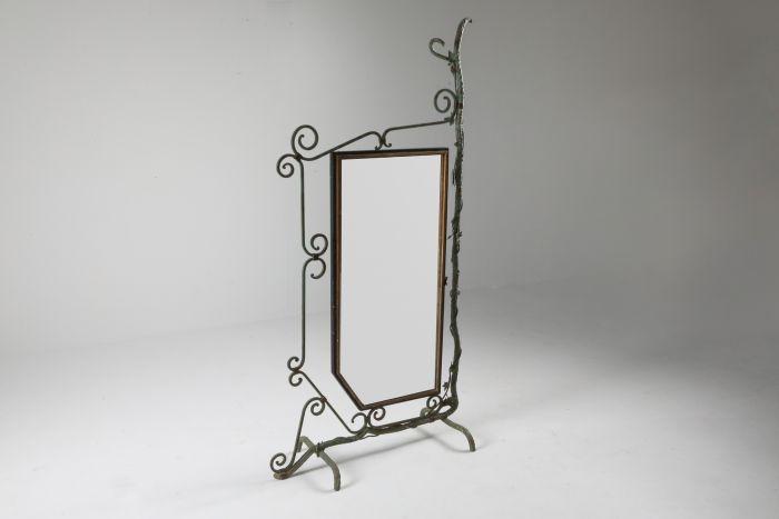 Bronze, Brass and Forged Steel Decorative Floor Mirror - 1920s