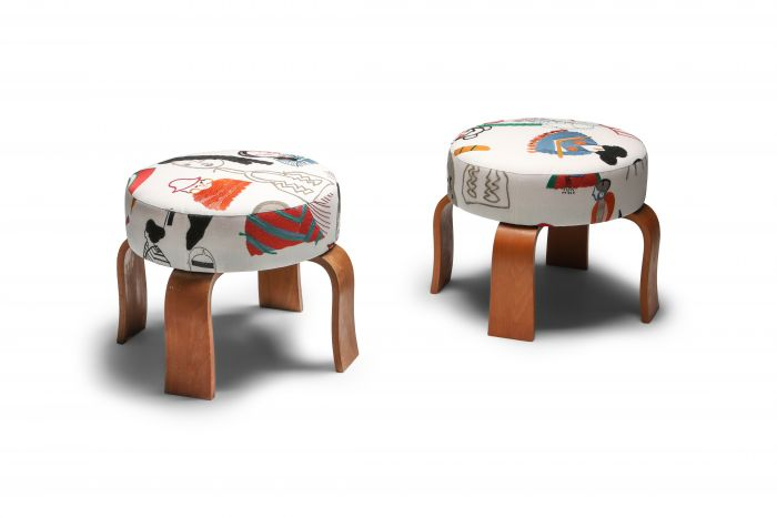 Set of Poufs with Graphical Pierre Frey Print - 1990s