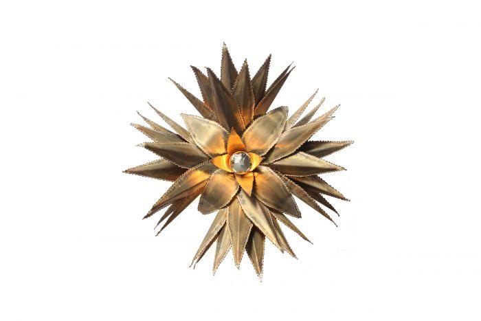 Maison Jansen Star Shaped Palm Tree Style Brass Sconce - 1970s