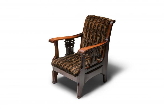 Amsterdam school armchair in Coromandel wood and tuchinksi fabric - 1920's