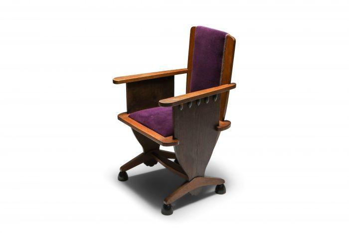 Amsterdam school unusual armchair with purple velours - 1930's