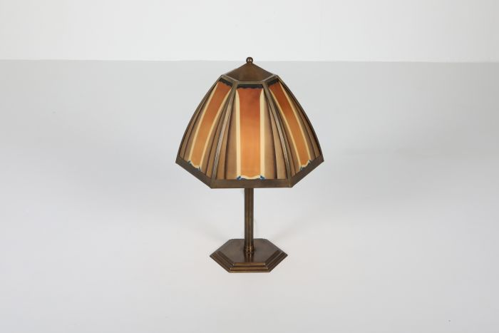Bronze and coloured glass art deco lamp, Netherlands - 1920's