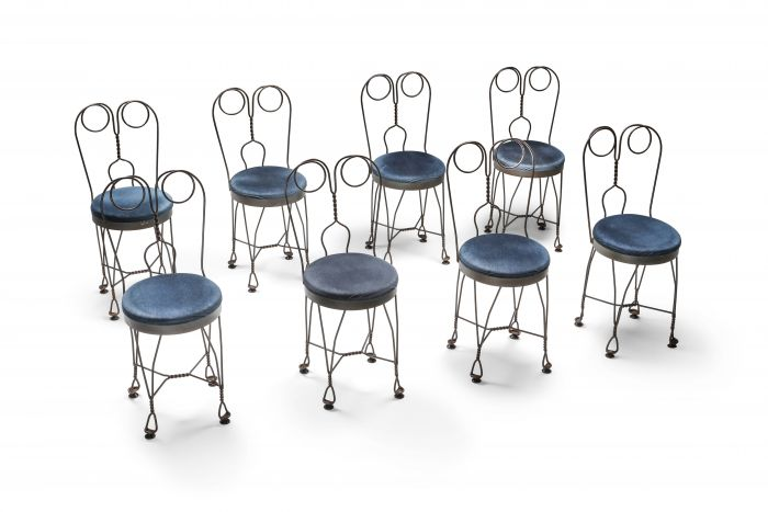 Wire metal and velvet dining chairs 'atelier français' - 1970's