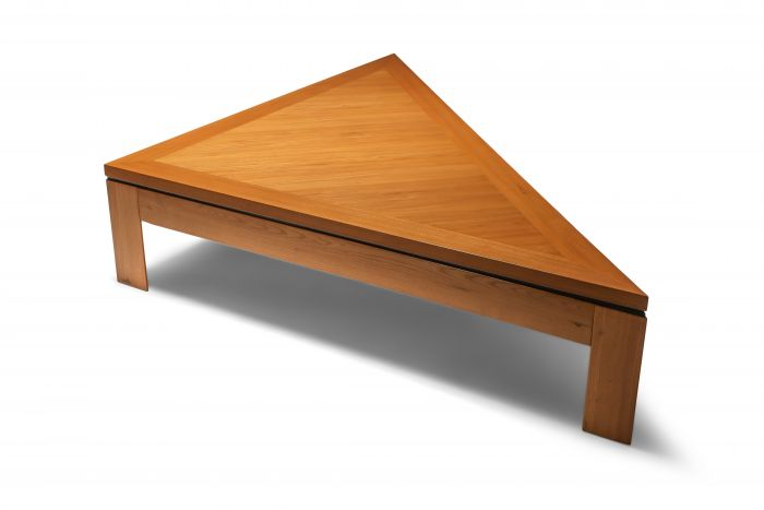 Triangular Postmodern Coffee Table in French Elm - 1970's