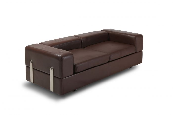 Daybed Sofa 711 by Tito Agnoli for Cinova in Brown Leather - 1970s