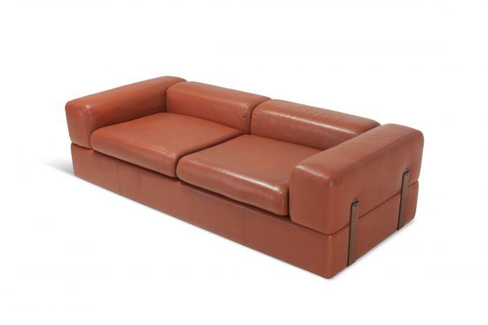 Minimalist Cognac Leather Sofa by Tito Agnoli for Cinova - 1960s