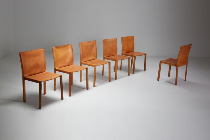 """Mario Bellini """"CAB"""" leather dining chairs for Cassina Italy - 1977"""