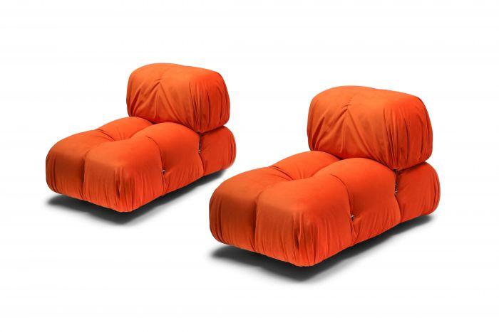 Camaleonda Lounge Chairs in Bright Orange Velvet - 1970s