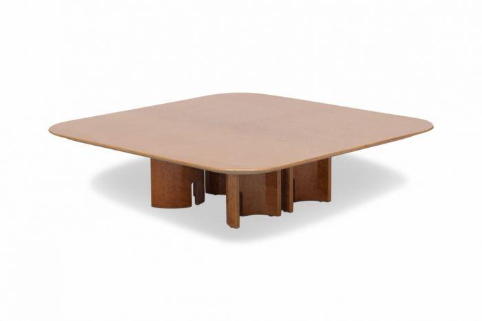 Square Burl Coffee Table For Saporiti, Giovanni Offredi - 1980s