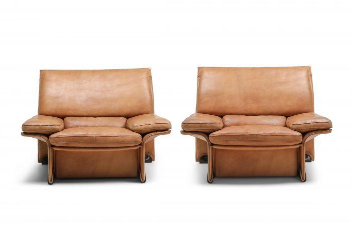 Thick Camel Leather Club Chairs by  Titiana Ammannati & Giampiero Vitelli for Brunati - 1970s