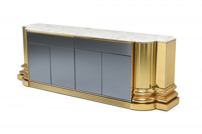 Brass And Marble Credenza by Sandro Petti for Maison Jansen - 1970s