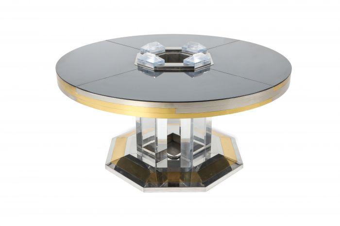 Sandro Petti For Maison Jansen Chrome & Brass Round Dining Table - 1970s