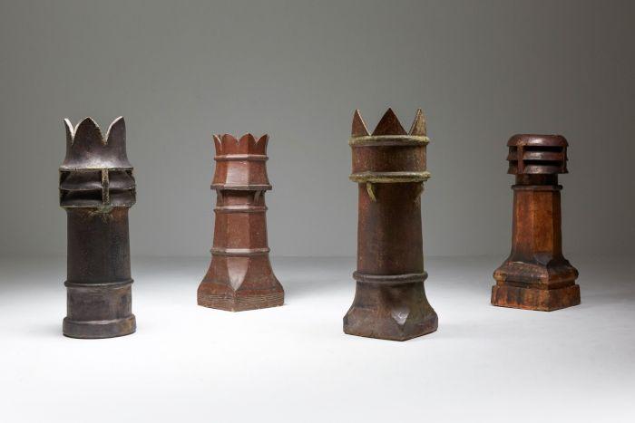 Antique Brutalist Stone Chimney Set - 1900's