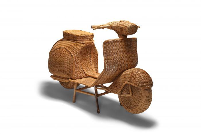 Bamboo wicker Vespa scooter - 1970s